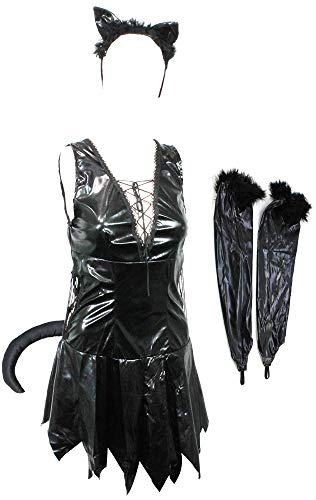 com-four® Sexy Katzen Kostüm Set mit Katzenohren, Armstulpen und Katzenschwanz für Fasching, Karneval, Halloween (Catwoman Größe M) (Sexy Katze Für Halloween)