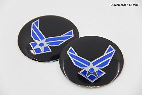 R309 US Luftwaffe 2 stück Felgendeckel 3D Emblem Abziehbild Auto Aufkleber Nabendeckel Radkappen 56 mm