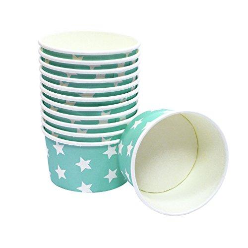 60 Frau Wundervoll Pappschalen türkis mit weißen Sternen Ø 8-9 cm, H = 5,5 cm / Eisbecher / Eisschale / Einwegschalen aus Pappe