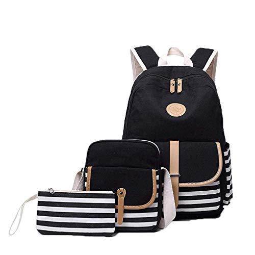 Hasun Streifen Druck Schulrucksack Mädchen Teenager Lässig Schultasche Canvas Rucksack Damen College Schule Laptoprucksack 3 Teiliges Set