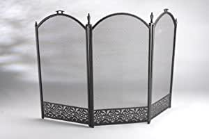 Inglenook 3 Panel Decorative Black Fire Guard by Inglenook