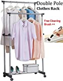 Zonku Stainless Steel Portable Double Pole Telescoplc Clothes Rack, Foldable Dual Clothes