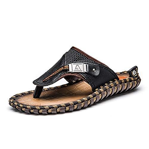 Men\'s shoes Sommer-Strandhausschuhe für Herren, handgefertigte Rutschfeste Herren-Flip-Flops aus Leder, atmungsaktive, leichte Freizeitschuhe für große Größen, geeignet für Strand/Angeln