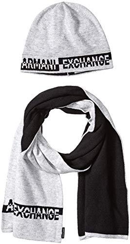 Armani Exchange Herren Knitwear Mütze, Schal & Handschuh-Set, Grau (Alloy Htr Bc06 3901), One Size (Herstellergröße: TU) (Herren Von Armani Für Schal)
