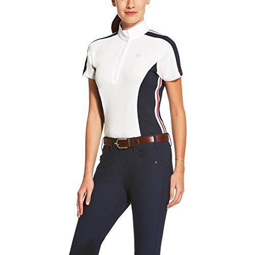 ARIAT Turniershirt APTOS COLOUR BLOCK, white/navy, XS (Pique Stricken Sport-shirt)