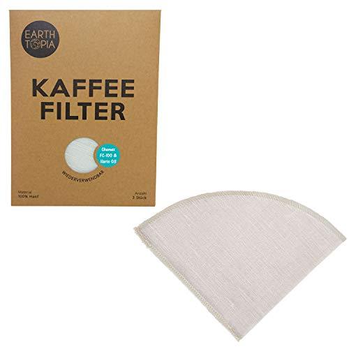 Earthtopia 3er Set Wiederverwendbare Kaffeefilter aus Stoff | 100% Hanf | Permanentfilter Mehrwegfilter Dauerfilter Filtertüten (3 Stück, passend für Hario V60 03 und Chemex 6-10 Tassen FC-100)