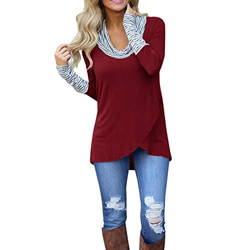 TIFIY Damen Bluse Elegant Streifen Sweatshirt O Ansatz Pullover Lässige  Langarmshirts (Wein,EU- ba87014b51