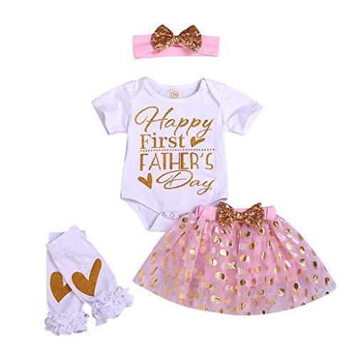 Sannysis Baby Mädchen Blumen Outfit Set Buchstaben gedruckt Langarm Strampler mit Blume Stirnband Beinhülse 4Pcs Vatertag Baby Set -