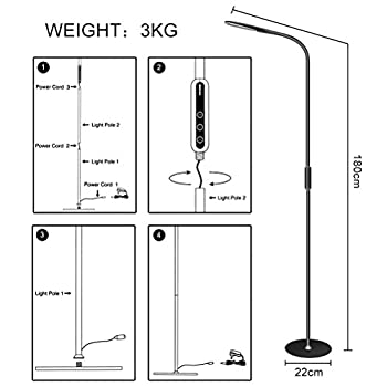 henzin LED Floor Lamp 9 W Dimmable with Remote Control and Touch Operation for The Office, Living Room, Bedroom and Reading, Food Romantic and Date Black