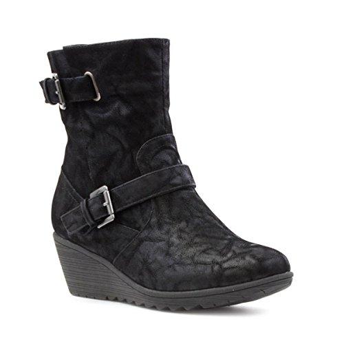 Cushion Walk Womens Black Wedge Boot - Size 4 UK - Black