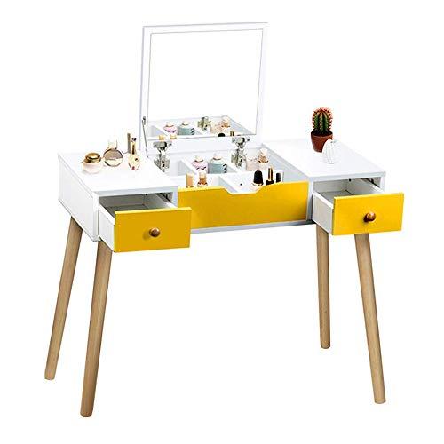 LARRY SHELL Schminktisch, multifunktionale Make-up-Tisch Superior Holz Vanity Set mit Flip Top Spiegel Schreibtisch mit 2 Schubladen 5 herausnehmbare Trennwand für Kinder Mädchen Frauen Schlafzimmer - Flip-top-schreibtisch