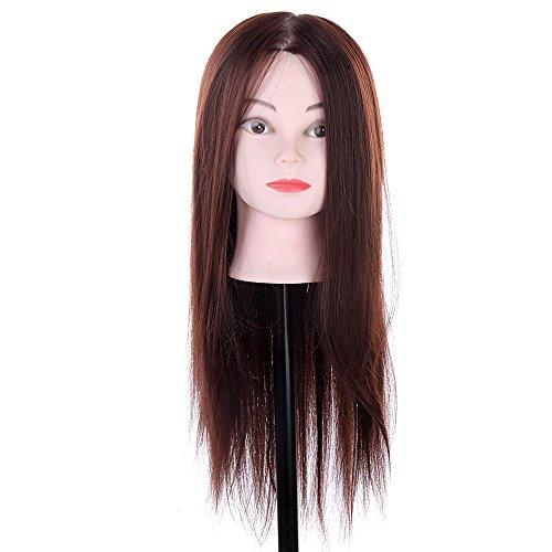 Anself mannequin de tête Mannequin d'apprentissage avec longue cheveux Synthétique Mannequin pour Salon pratique