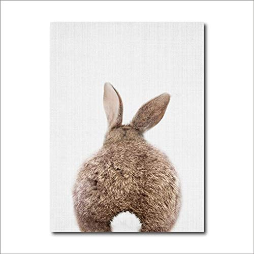 ve Malerei Bunny Tail Leinwand PaintingWall Art Animal Poster und Print Nordic Woodland Bild for Room Home Decor Keine Grenze (Color : B, Size (Inch) : 30x40 cm) ()