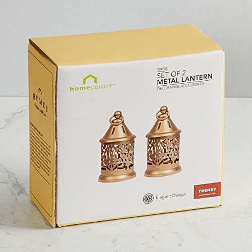 Home Centre Raga-Manthan Round Hanging Lantern - Set Of 2 Pieces - Gold