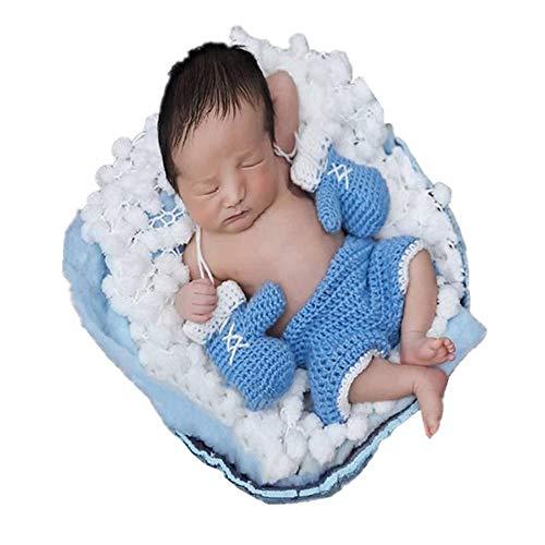 Puseky Baby Boxhandschuh Set Handarbeit Häkeln Gestrickte Neugeborene Fotografie Prop Hosen Outfits (Color : Sky-blue, Size : 0-3M)