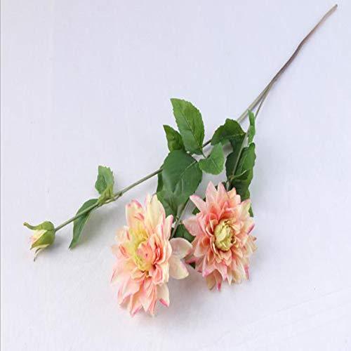 WYEING. Einzelne branchen künstliche Blumen Deko Dahlie Künstliche Pflanze Gefälschte Blume der Hochzeitsdekoration(1 kleine Trauben 3 Köpfe),Beige