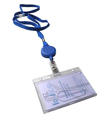 5 x Ausweis-Yoyos mit Lanyard blau und stabilem Kartenhalter aus Polykarbonat Querformat