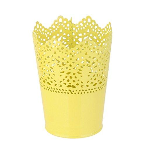 D&&R 1x Metall Schneiden Pflanze Vase Topf Stift Make-up Bürstenhalter Schreibtisch Ordentlich Organizer Veranstalter Aufbewahrungskorb, Gelb