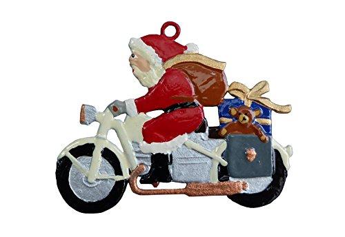 Nikloaus auf Motorrad beidseitig, sehr aufwendig von Hand bemalt als Zinnfigur, Baumbehang, Weihnachtsanhänger, weihnachtlicher Zierschmuck