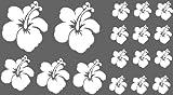 XL Design Set F in Weiss 17 Stück HIBISKUS Blüten Wandtattoo Blumen oder Autoaufkleber selbstklebende Wandsticker Out- & Indoor, Wandaufkleber & Fensterbild wählen Sie aus 32 Farben!