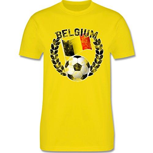 EM 2016 - Frankreich - Belgium Flagge & Fußball Vintage - Herren Premium T-Shirt Lemon Gelb