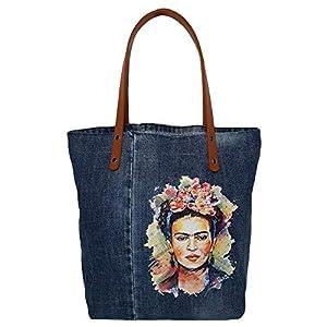 Denim Handtasche Jeansstoff Shopper Tasche Frida Kahlo Geräumige Jeanstasche mit Ledergriffe Leichte Alltagstasche für…
