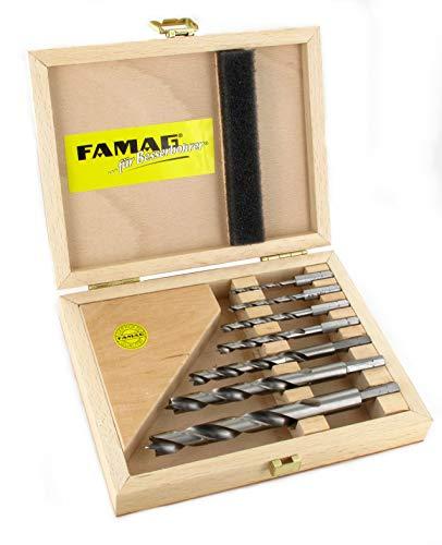 Famag Spiralbohrer Set für Holz, 7-teilig, HSS-G, Holzbohrer ø 3-12 mm, in praktischer Holz-Box, 1597507