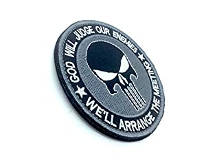 Punisher God Will Judge Our Enemies Gris Brodé Airsoft Velcro Patch