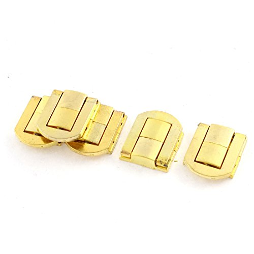 Sourcingmap® 25mmx21mm Zink Legierung Box Koffer Deckel verstecktem Loch Verriegelung Gold Ton 5x (Ton-tool-box)