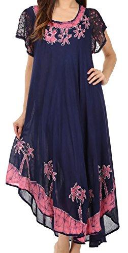 Sakkas A009 Batik-Palme mit Flügelärmeln Kaftan Kleid/Cover Up - Navy/Pink - One Size -