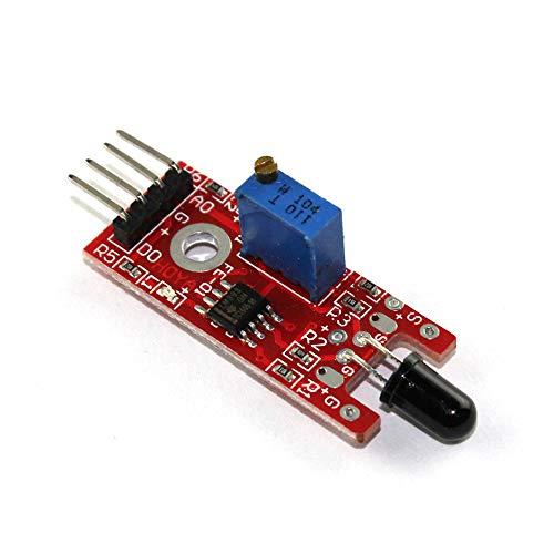 Flamme-sensor (1 Stück KY-026 Flammen-Sensor-Modul IR-Sensor Detektor zur Temperaturerkennung geeignet für Arduino)