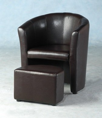Tempo Tub Chair with Footstool - Expresso Brown