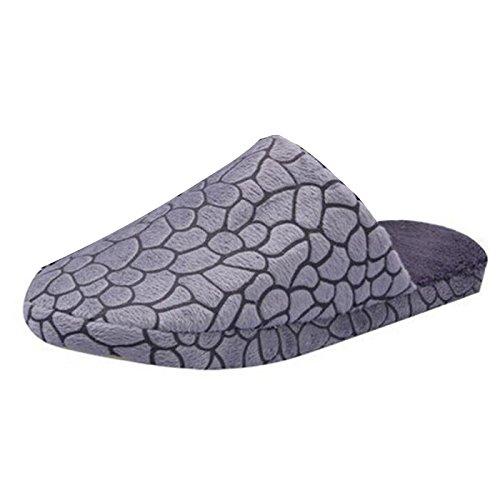 Minetom D'hiver Slippers Doux Chaud Chaussons Pantoufles En Velours Corail Confortables Légers Adulte Unisexe Pour Maison Bureau EUROPE Taille Gris