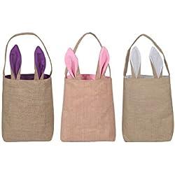 3 Pack Osterhasen Taschen Osterkorb Jute Sackleinen Bunny Taschen 25 x 30 cm
