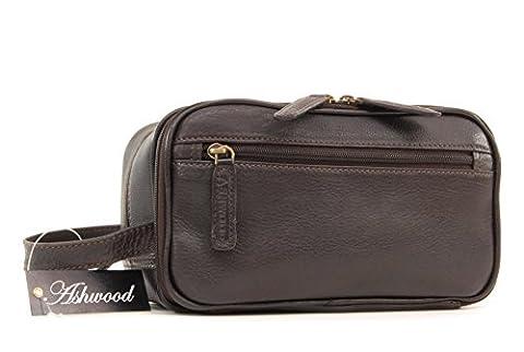 Ashwood Wash Bag / Shaving Bag - Leather