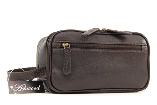 "Borsa Toiletry/Wash Bag/Cosmetici beauty case da uomo in pelle ""Chelsea"" - 2080 - Marrone"