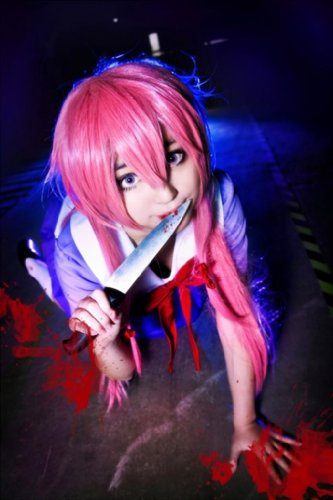 COSPLAZA Cosplay Kostueme Peruecke lang pink Halloween Party Haar mit Perueckennetz The Future Diary Gasai Yuno