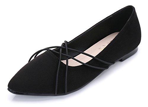 Aisun Femme Sexy à Talon Plat Spécial Fashion Bout Pointu Ballerines Noir