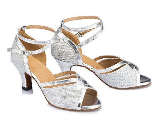 Latina Sapatos De Rasgou De Médio Toe De Das Salto Mel Peep Dança Prata 02 Alto Mulheres wIq1n5