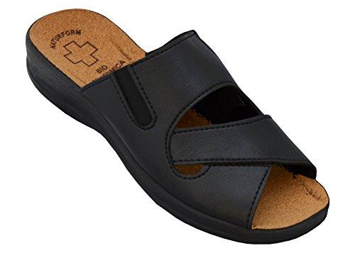 Damen Pantolette Arbeitsschuhe Medizinische Schuhe Sandalen Komfort Kork Hausschuhe Arbeit Leicht und Bequem (41, Schwarz)