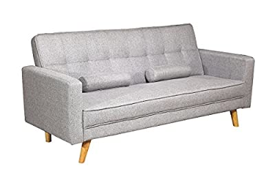 Boston Modern Fabric Upholstered 3 Seater Sofa Bed Charcoal or Light grey by Sleep Design - inexpensive UK light store.