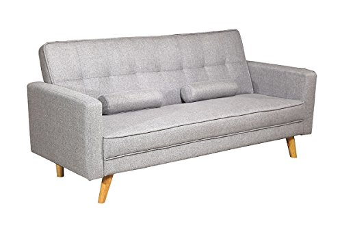 Boston Modern Fabric Upholstered 3 Seater Sofa Bed Charcoal or Light grey by Sleep Design (Light Grey)