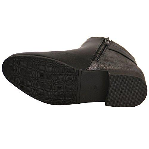 DONNA SCARPONCINI chelsea donna similpelle scarpe caviglia tacco basso zip BIKER INVERNO Nero - 68814