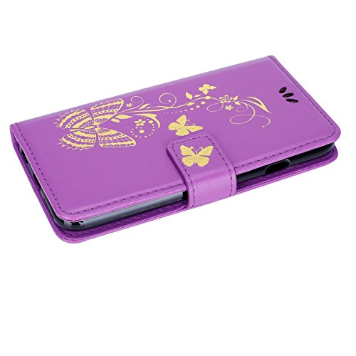 JAWSEU Coque pour iPhone 5C,iPhone 5C Portefeuille Coque en Cuir,iPhone 5C Cover Flip Wallet Case Ultra Slim,2017 Neuf Femme Homme Luxury Retro Gold/Oro Butterfly Papillon Motif Leather Pu Folio Etui  Violet/Gold Butterfly