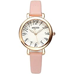 JSDDE Women Fashion Arabia Numberal Scale Rose Gold Tone Small Pink Leather Band Analog Quartz Wrist Watch