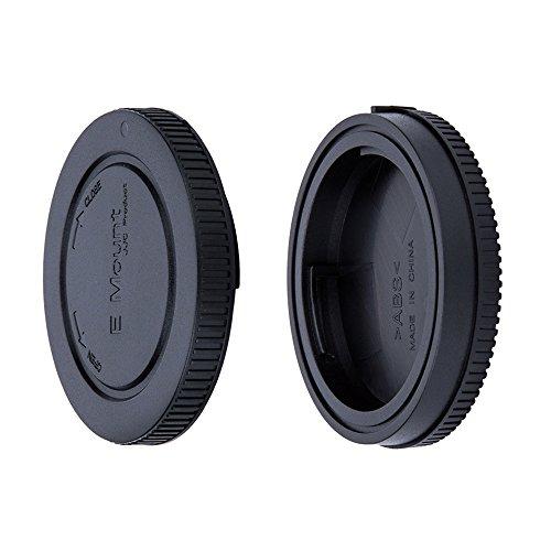 JJC Bouchon de Protection Frontal + Protège-objectif Arrière pour Sony E Mount Mirrorless Interchangeable-lens Caméra & Sony E Objectif (1 Set)