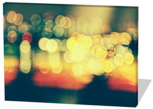 City Lights, Gemälde Effekt, schönes und hochwertiges Leinwandbild zum Aufhängen in XXL - 100cm x 70cm, echter Holzrahmen, effektiver Pigmentdruck, modernes Design für Ihr Büro oder Zimmer