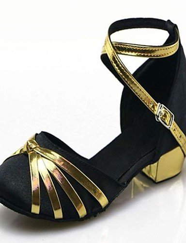 ShangYi Non Customizable Women's/Kids' Dance Shoes Modern Satin/Paillette Low Heel Black/Blue/Brown/Red Blue