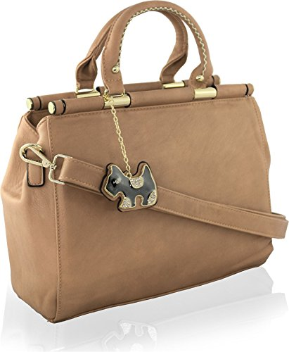 KukuBird DOG Chain Tag Designer Plain Pattern Faux Leather Boutique Totes Handbag with Glitter TAUPE