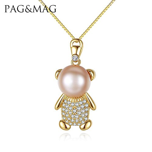 Haixin Petit ours à la vapeur de pain perle pendentif collier en argent sterling antiallergique s925 collier chaîne longueur 42 cm + 3 cm